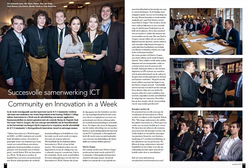 News Article Eindhovens Dagblad Innovation in a Week Award 2013