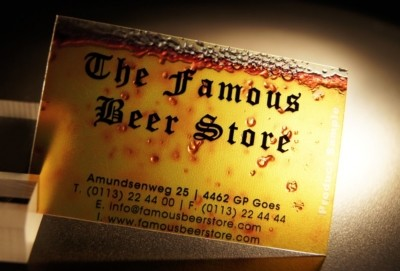 Picture of Luximprint Optographix showing a Famous Beer Store Premium Business Card sample