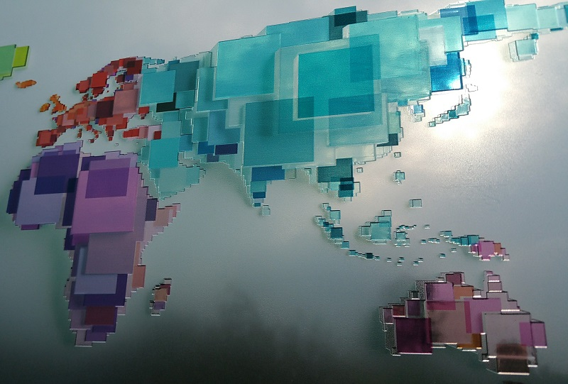 Picture of Luximprint Optographix - World Map 3D applied onto window