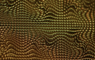 Close-up image of a 3D printed texture Square Warp 3D by Luximprint for lighting design firm Luminous Concepts