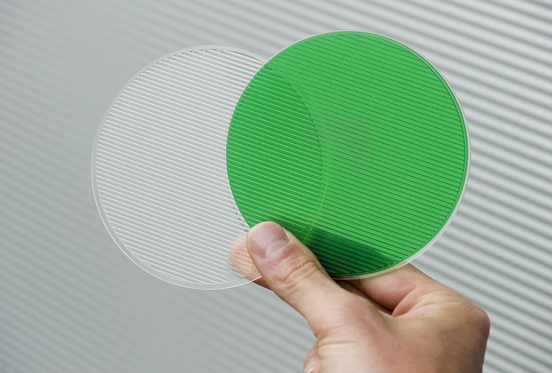 Picture of 3D printed prism lens in clear and green color