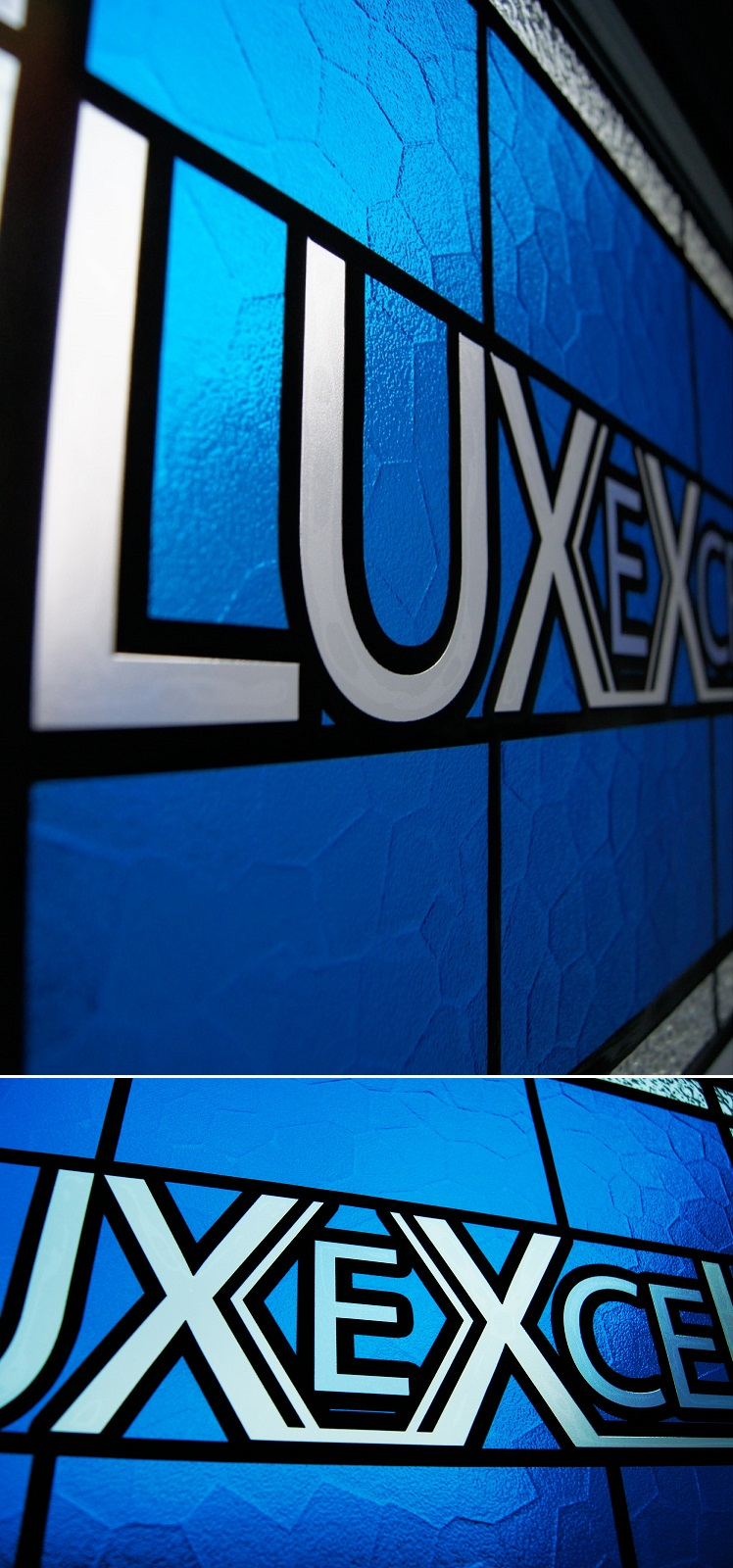 Picture of branded stained glass film produced for Luxexcel Group
