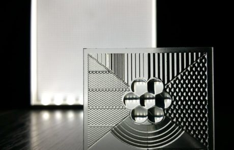 Picture showing 3D printed optics lens array with backlight