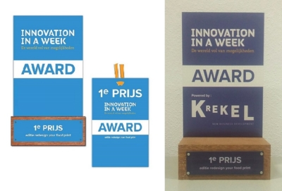 Picture of the design skethes for the Krekel Innovation in a Week Award 2015 as printed by Luximprint Optographix Technology