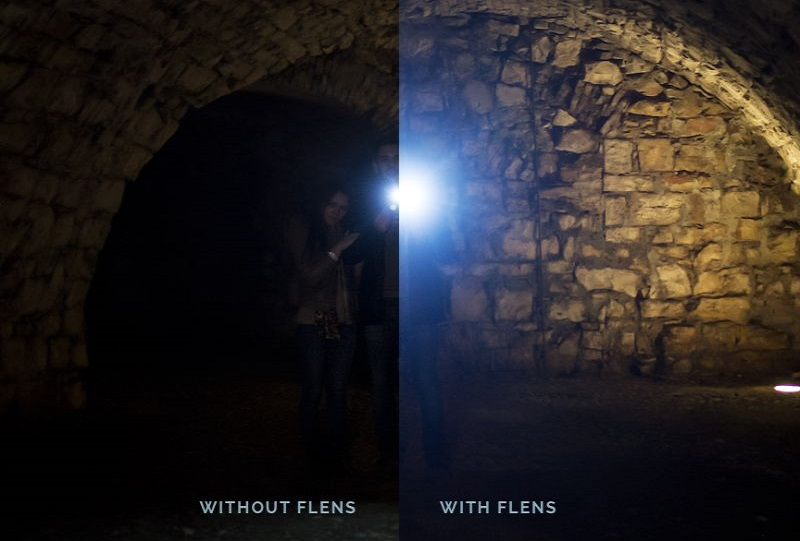Picture of flash with and without 3D printed relio flashlight