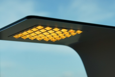 Close up picture of FSIGN ONE LED Table fixture with 3D printed lens array in function
