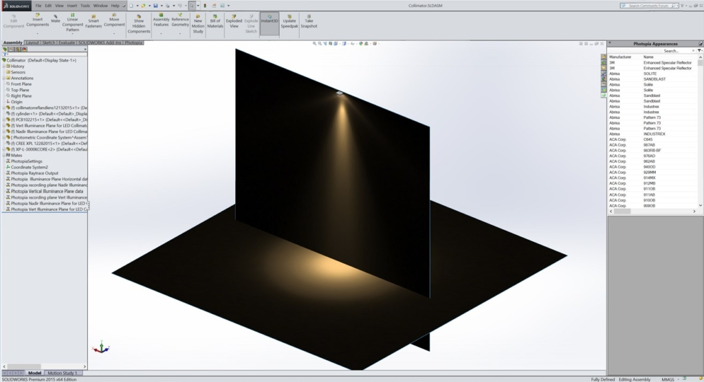Image by LTI Optics for Luximprint Optics Design Hub showing a beam angle visualization generated in LTI Optics Photopia Software for Solidworks