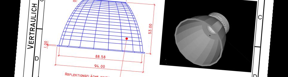 Picture of reflector design by Angewandte Lichttechnik for Luximprint Optics Design Hub