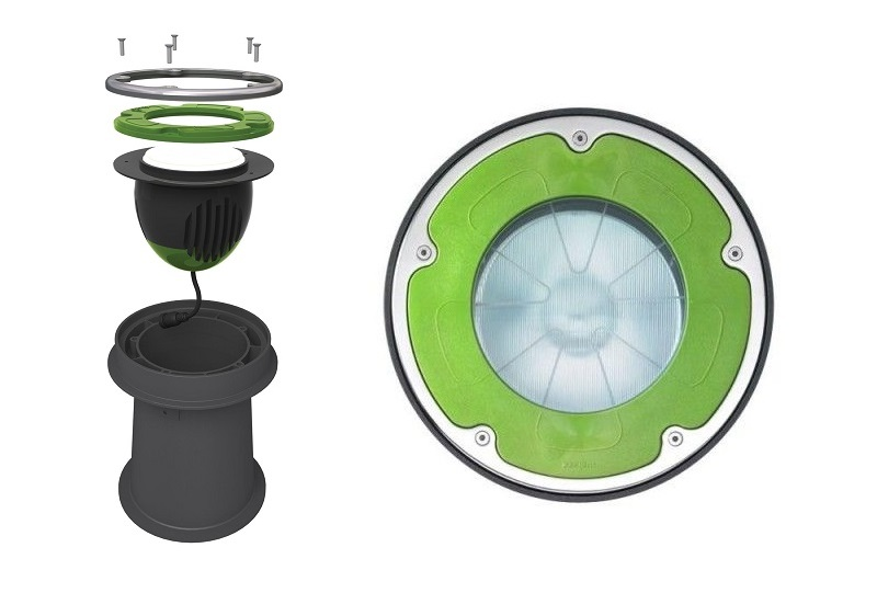 Image for Luximprint showcase are featuring Paviom LoFoot in-ground spot with 3D printed tilt lens optic