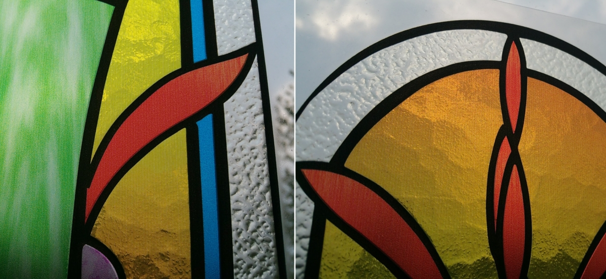 Image of full color stained glass window created by Luximprint 3D printing technology