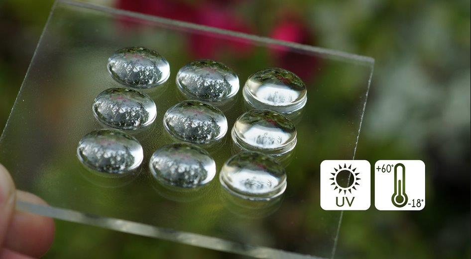 Image of Luximprint lens array with coating in outdoor environment to illustrate street lighting optics pages