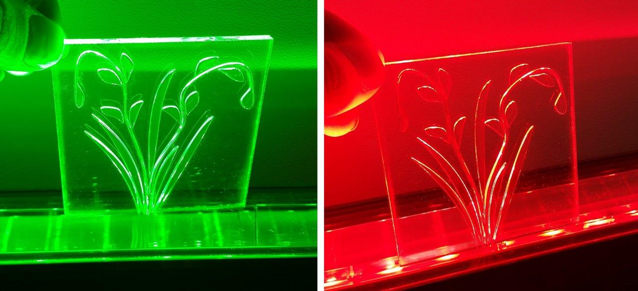 Picture showing a quick and dirty image of a 3D printed light guide flower transporting red and green light