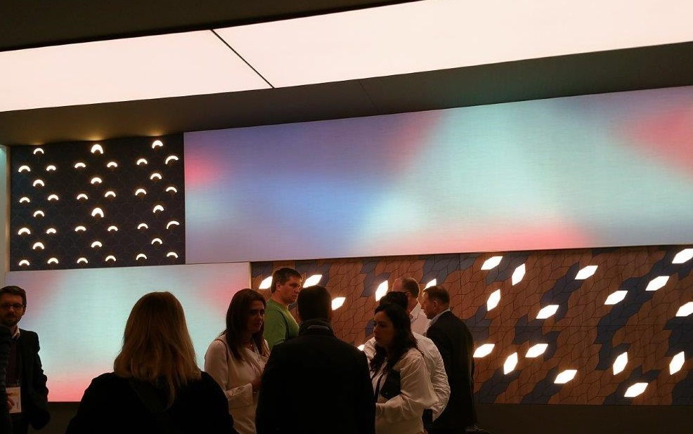 Picture of Philips Lighting (Signify) booth at Light Building 2018 showing integrated lighting solutions