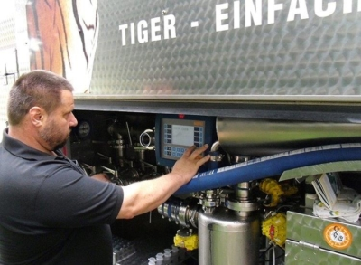 Picture by BARTEC of the TIGER Milk Collection System in operation