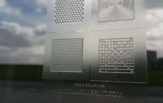 Image of various printed optical micro structures by Luximprint
