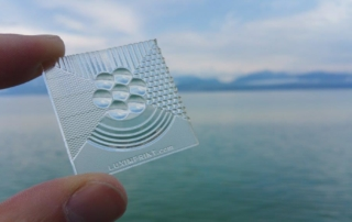 Picture of handheld Luximprint printed optics sample at Lake Geneva