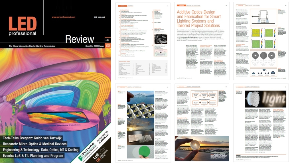 Image with page spread of LED professional Review 69 including Luximprint Additive Optics Fabrication Article