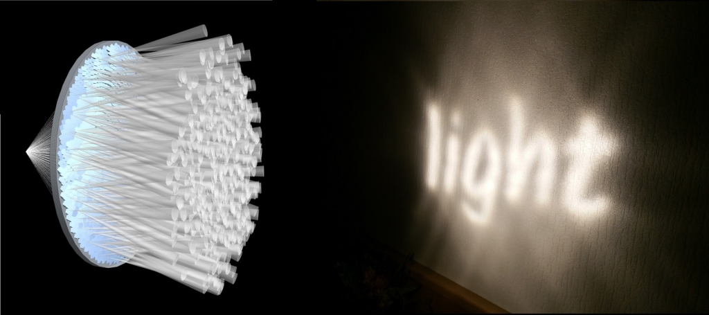 Image of faceted lens beam forming 'light' typography