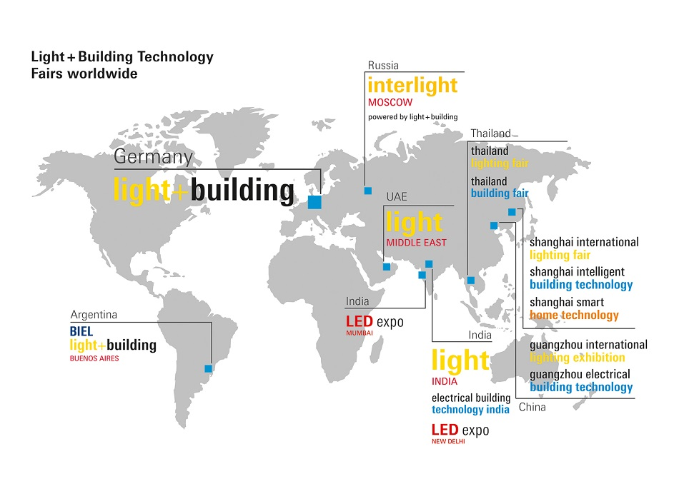 Image on the Luximprint website showing the locations of Light+Building trade shows around the globe.