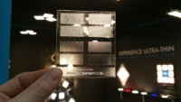 Image of Frosted Finishes sample by Luximprint in front of Lightly Technologies booth