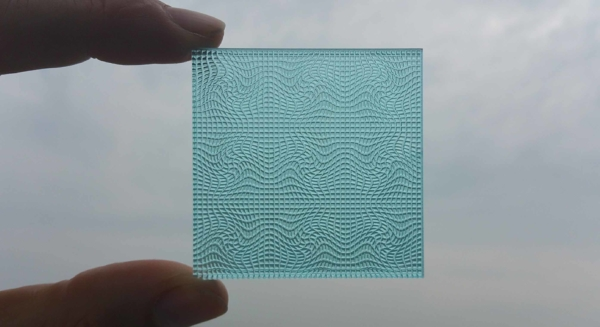 Picture of handheld blue texture 3D printed by Luximprint