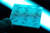 Image of handheld Optical 3D printed texture by Luximprint (blue backlight)