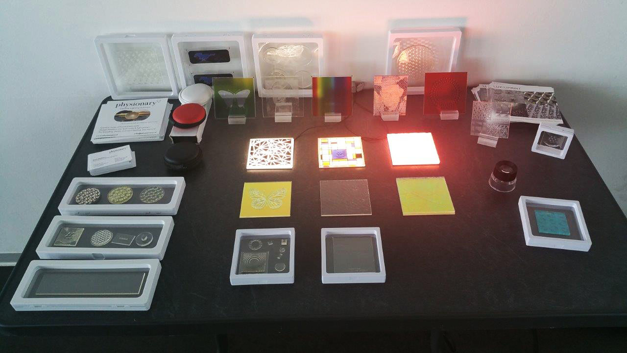 Image of various 3D printed optics and Optographix by Luximprint in support of EPFL presentation