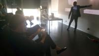 Image showing Suresh Christopher explaining Faceted Lens Technology Principle