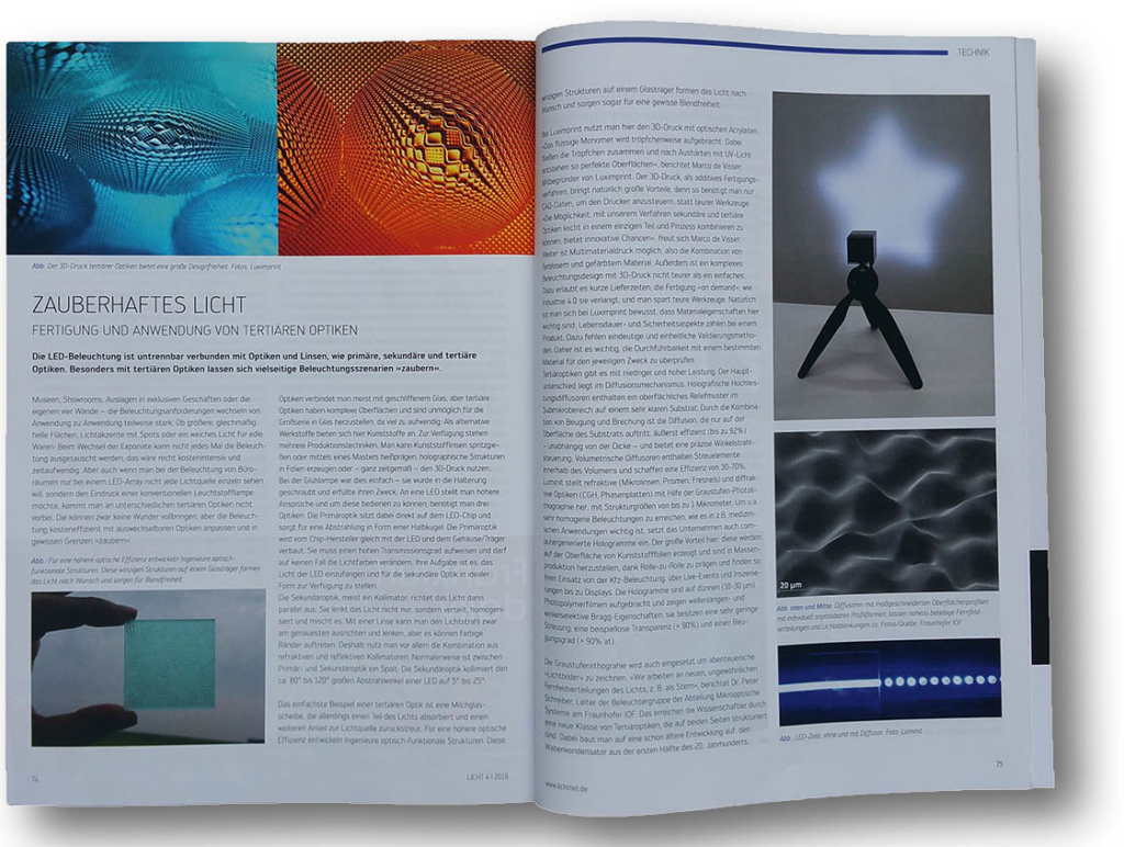 Image of publication by LICHT.DE about Luximprint Printed Optics
