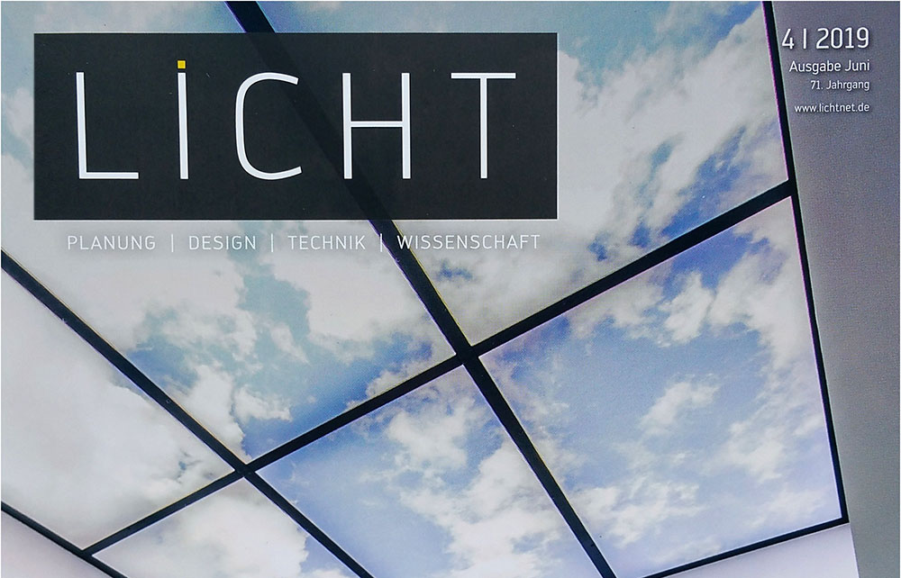 Cover image of LICHT.DE Magazin reporting on Luximprint and Printed Optics