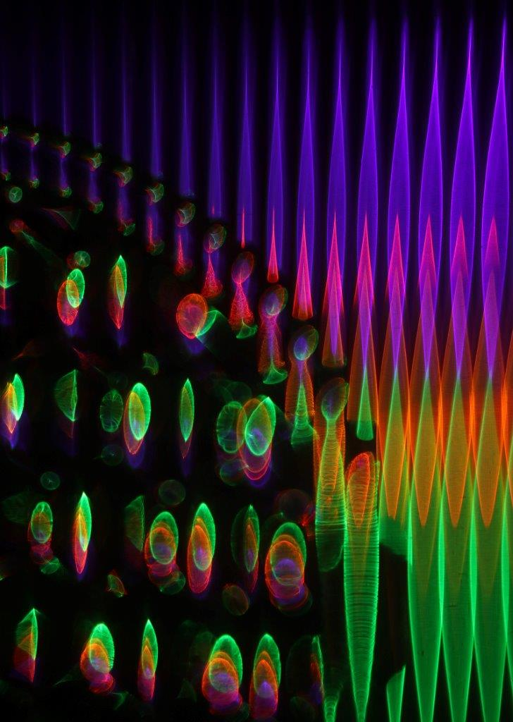 Image by MCarscience Photography for Luximprint showcase area 3d Printed Lens Art showing illuminated MLA and prism array
