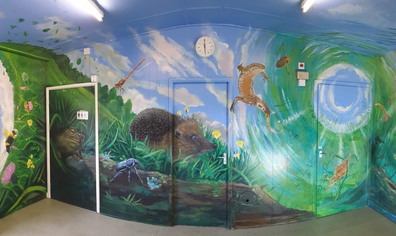 Image of Park Penallta washroom decorated with wall-painted minibeasts by Andy O'Rourke dark