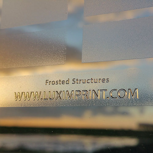 Image of Luximprint Frosted Finishes sample for use in the Sample Shop during sunrise