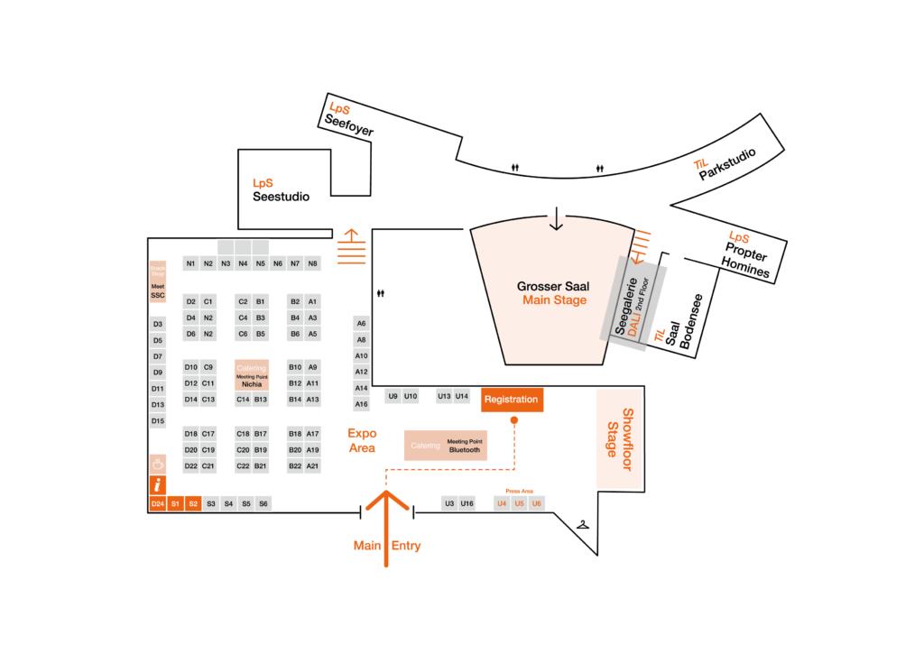 Image with floorplan of LPS TIl 2019 in Festspielhaus Bregenz, Austria
