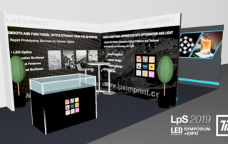 Rendering of the Luximprint booth for LPS TIL 2019