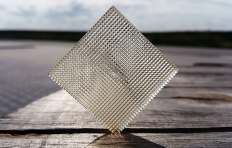 Image by Luximprint showing a 3D Printed Facet Lens with 1.0 mm square facets for Printed Optics Inspiration Gallery