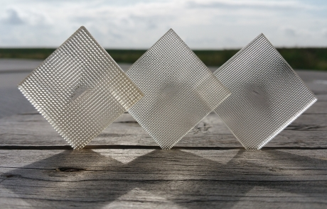 Image by Luximprint showing a trio of 3D Printed Facet Lens with various facet sizes for Printed Optics Inspiration Gallery