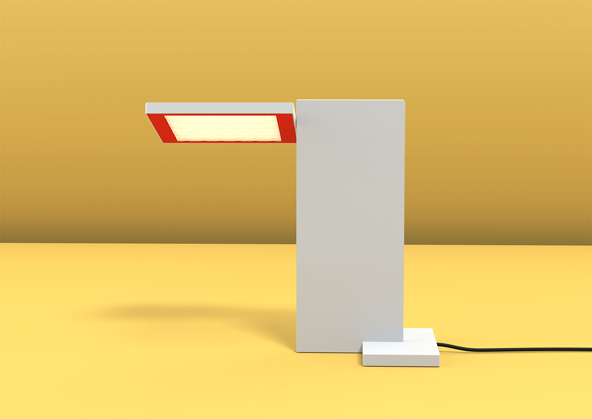 3D render of SDA Planar Task Light for use in Luximprint Inspiration corner with yellow-warm white background