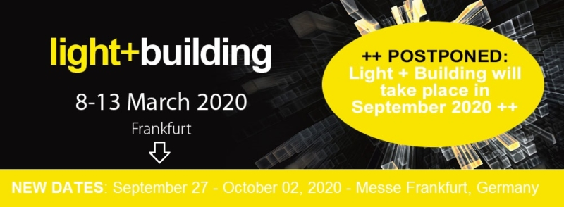 Header image for Luximprint blogpost about postponed Light+Building 2020 event incl new dates
