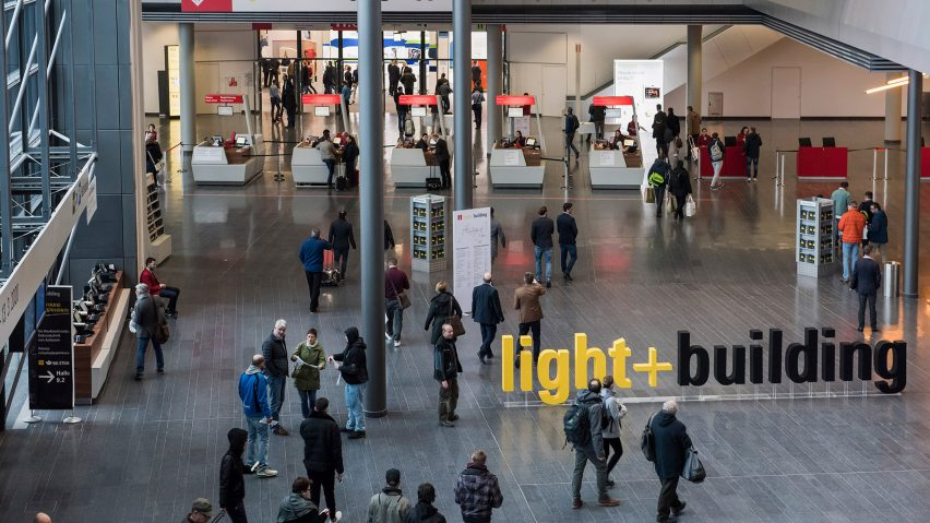 Image of entrance Light+Building Frankfurt to illustrate article at Luximprint.com on cancelled lighting event