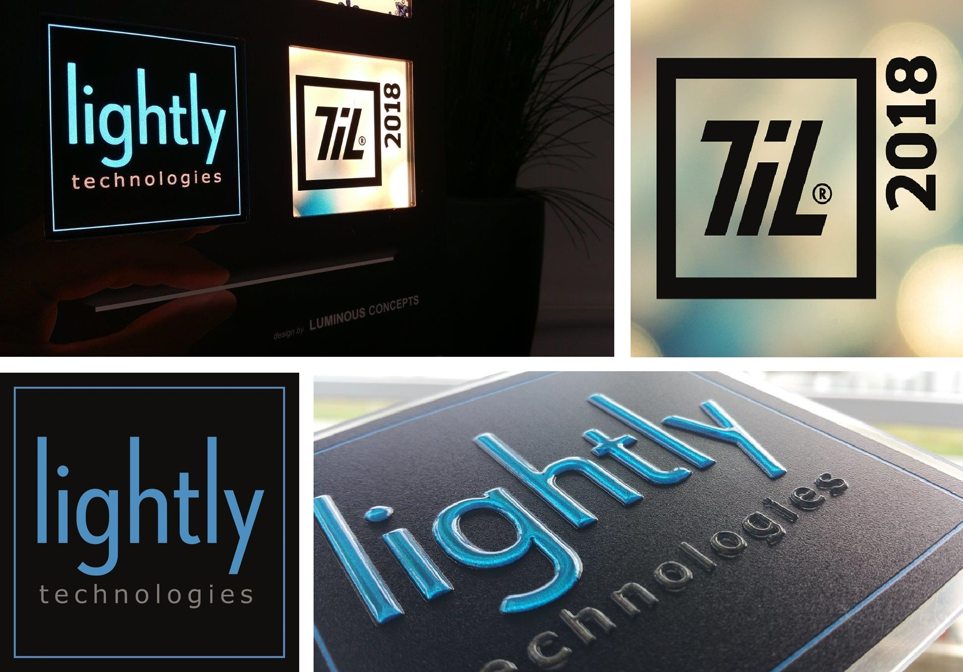 Image of Lightly Technologies logo reworked with Luximprint black-white surface masking technology. Design by Luminous Concepts.