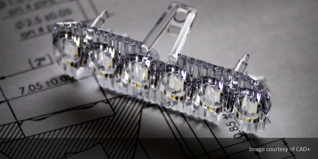 Image of a custom LED optic by CAD+ to illustrate the benefits of rapid prototyping