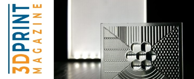 Header image for blogpost about 3D print magazine feature about Luximprint 3D printed optics