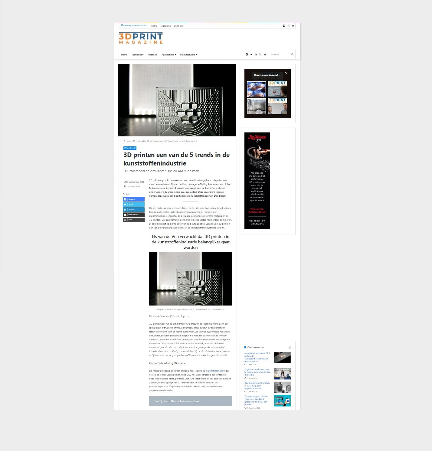 Image showing storyline of 3D print magazine article about rapid prototyping custom optics by Luximprint