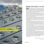 Image showing cover of EuroPhotonis magazine autumn 2021 showing 3D printed optics from Luximprint