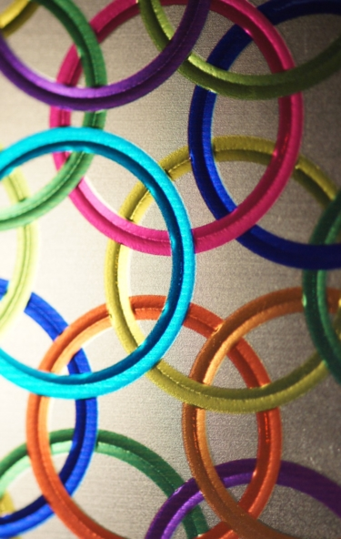 Picture of colorful rings on lamp shade created by Luximprint Optographix Technology