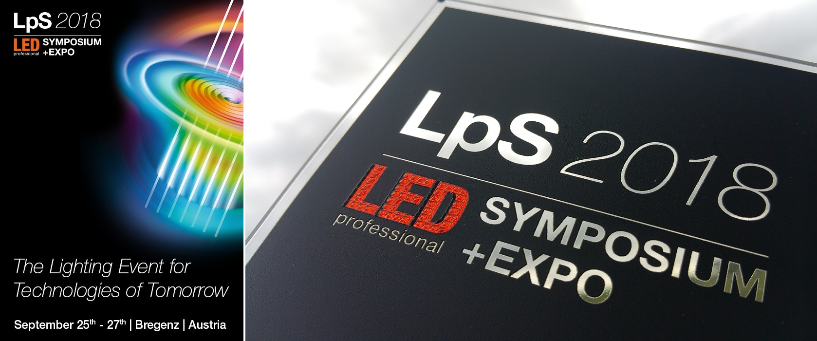 Header image for Luximprint announcement of presence at LPS2018 in Bregenz.