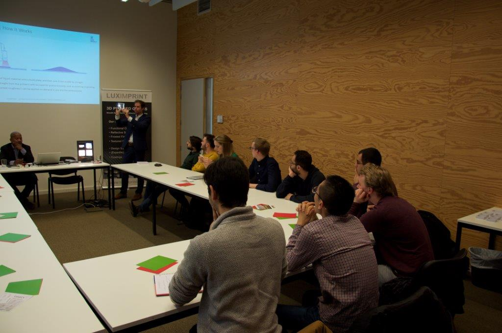 Picture of classroom at Ghent University with Luximprint team addressing Photonic Master Students