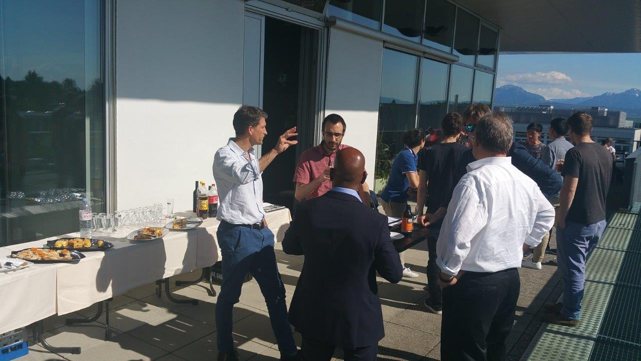 Image showing professors and doctoral EPFL students during reception drinks