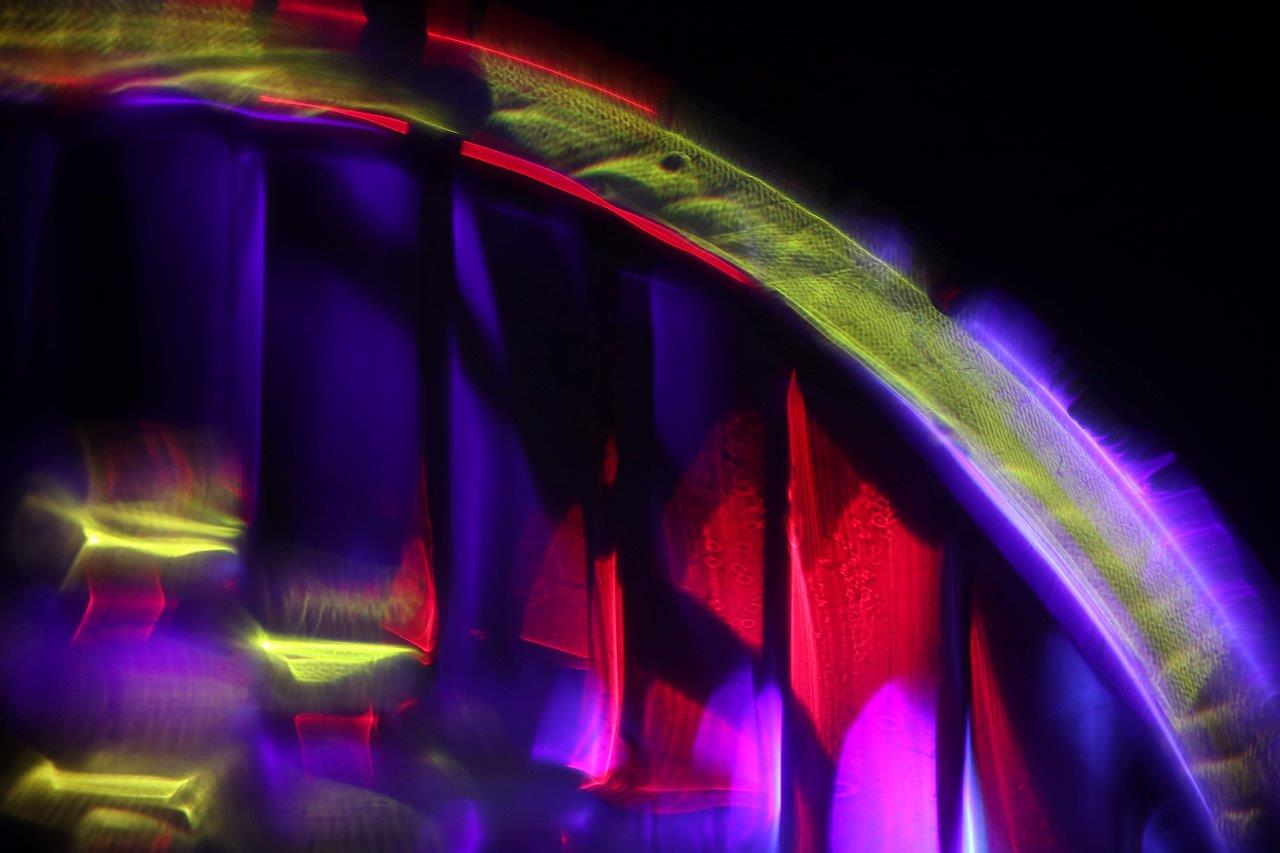Image by MCarscience Photography for Luximprint showcase area 3d Printed Lens Art showing illuminated motor cycle head light lens
